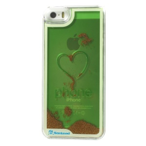 Sanlead Flowing Beads Love Heart Plastic Hard Case Shell for iPhone 5s 5 - Green