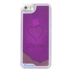 Sanlead Flowing Beads Love Heart Plastic Hard Cover for iPhone 5s 5 - Purple
