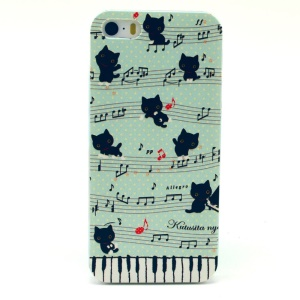 Music Note & Cat Plastic Protective Cover for iPhone 5s 5