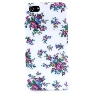 Purple Flowers IMD Glossy Hard Plastic Case for iPhone 5s 5