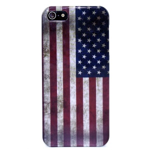 Retro USA National Flag IMD Glossy Hard Plastic Shell for iPhone 5s 5