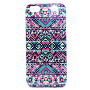 Colorful Geometric Pattern IMD Glossy Plastic Back Case for iPhone 5s 5