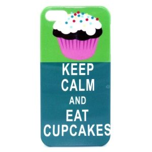 IMD Glossy Plastic Back Shell for iPhone 5s 5 - KEEP CALM AND EAT CUPCAKES Pattern