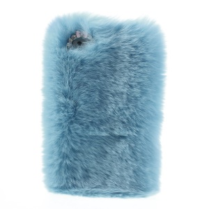 Baby Blue Stylish Warm Genuine Rabbit Fur Hard Case for iPhone 5s 5