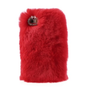 Red for iPhone 5s 5 Stylish Warm Genuine Rabbit Fur Plastic Back Case