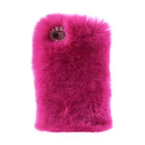 Rose for iPhone 5s 5 Stylish Warm Genuine Rabbit Fur Plastic Back Cover