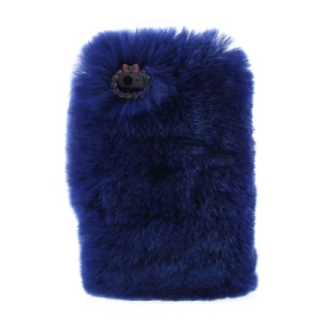 Dark Blue Stylish Warm Genuine Rabbit Fur for iPhone 5s 5 Plastic Phone Shell