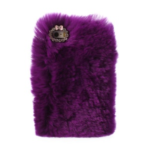 Purple Stylish Warm Genuine Rabbit Fur for iPhone 5s 5 PC Hard Shell