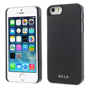 BELK PU Leather Coated Hard Plastic Case for iPhone 5s 5 - Black