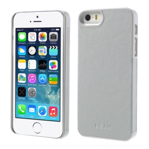 BELK PU Leather Coated Hard Cover Shell for iPhone 5s 5 - Light Grey