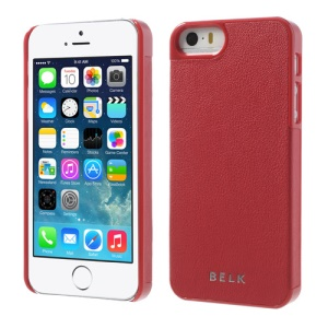 BELK for iPhone 5s 5 PU Leather Coated Plastic Protective Case - Red