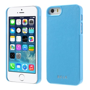 For iPhone 5s 5 BELK PU Leather Coated Plastic Back Shell - Sky Blue