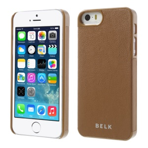 For iPhone 5s 5 BELK PU Leather Coated Hard PC Back Case - Brown
