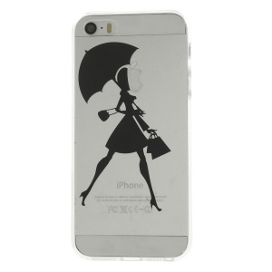 Girl with Umbrella Pattern Clear Back TPU Case for iPhone 5s 5