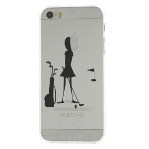 Girl Playing Golf Pattern Clear Back TPU Cover for iPhone 5s 5