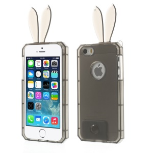 Rabbit Shaped Crystal TPU Cover for iPhone 5s 5 - Gray