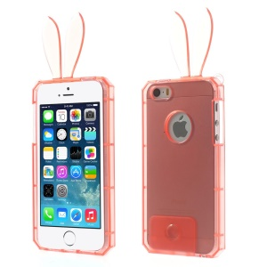 Rabbit Shaped Crystal TPU Gel Cover for iPhone 5s 5 - Rose