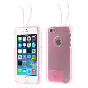 Rabbit Shaped Crystal TPU Gel Case for iPhone 5s 5 - Pink