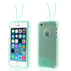 Rabbit Shaped Crystal TPU Gel Shell for iPhone 5s 5 - Cyan