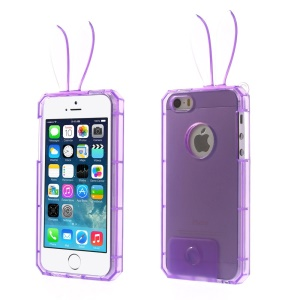 Rabbit Shaped Crystal TPU Skin Case for iPhone 5s 5 - Purple