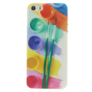 For iPhone 5s 5 0.7mm Slim TPU Case - Messy Water Color Palette Brushes