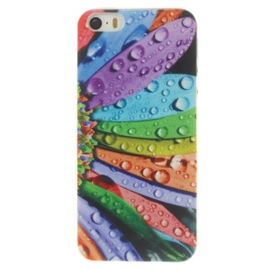 For iPhone 5s 5 0.7mm Slim TPU Back Case - Colorful Petal & Dew