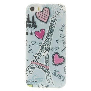 For iPhone 5s 5 0.7mm Slim TPU Skin Shell - Eiffel Tower & Heart