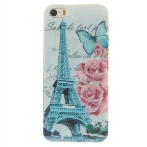 For iPhone 5s 5 0.7mm Slim TPU Skin Case - Eiffel Tower & Blooming Rose
