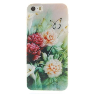 For iPhone 5s 5 0.7mm Slim TPU Skin Back Case - Peony & Butterfly