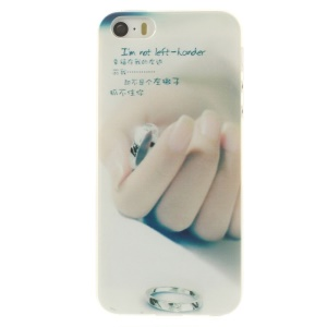 For iPhone 5s 5 0.7mm Slim TPU Skin Back Shell - Hand & Ring Pattern