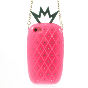 Starry Sky Rhinestone Pineapple TPU Case w/ Metal Chain for iPhone 5s 5 - Rose