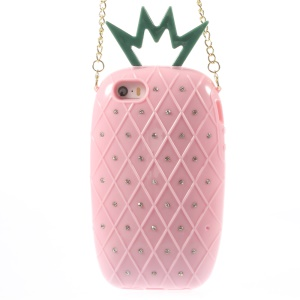 Starry Sky Rhinestone Pineapple TPU Cover w/ Metal Chain for iPhone 5s 5 - Pink