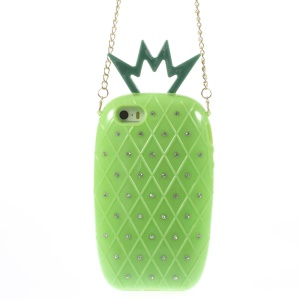 Starry Sky Rhinestone Pineapple TPU Gel Shell w/ Metal Chain for iPhone 5s 5 - Green