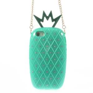 Starry Sky Rhinestone Pineapple TPU Gel Case w/ Metal Chain for iPhone 5s 5 - Cyan