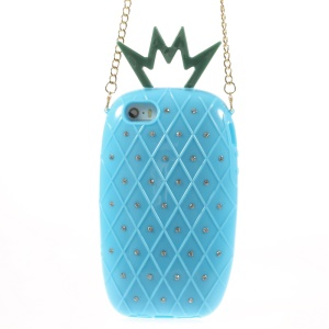 Starry Sky Rhinestone Pineapple TPU Gel Cover w/ Metal Chain for iPhone 5s 5 - Blue