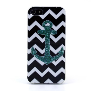 Protective TPU Gel Shell for iPhone 5s 5 - Black Chevron Stripe & Anchor