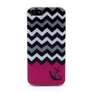 Protective TPU Gel Cover for iPhone 5s 5 - Chevron Stripe & Anchor