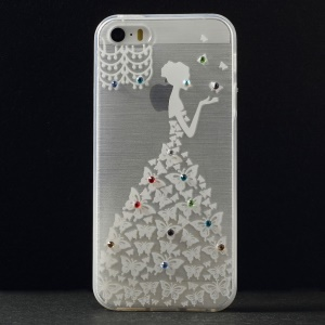 Diamante Butterfly Beautiful Girl Soft TPU Back Case for iPhone 5s 5 - White