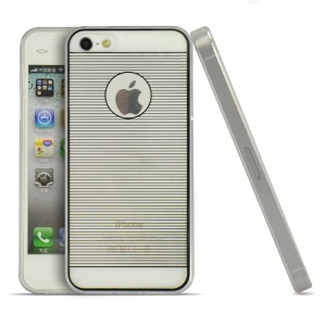 Black Horizontal Lines 0.3mm Ultra-thin TPU Back Case for iPhone 5s 5