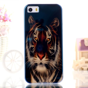 Blue-ray IMD TPU Case for iPhone 5s 5 - Angry Tiger Pattern
