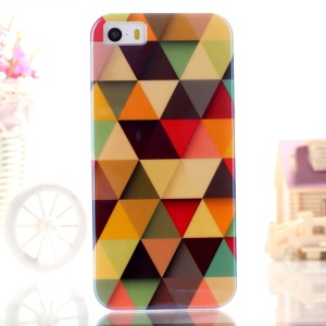 Blue-ray IMD TPU Gel Cover Shell for iPhone 5s 5 - Colorful Triangles