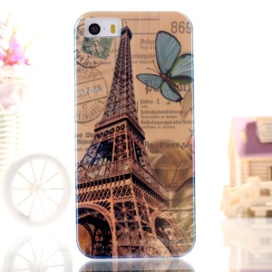 Blue-ray IMD TPU Protective Case for iPhone 5s 5 - Eiffel Tower & Butterfly
