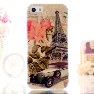 Blue-ray IMD TPU Case Shell for iPhone 5s 5 - Eiffel Tower & Car