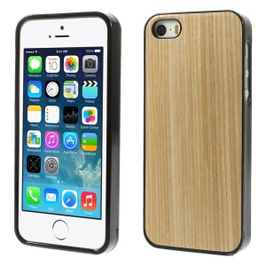 Real Wood Skin TPU Gel Case Cover for iPhone 5s 5 - Beige