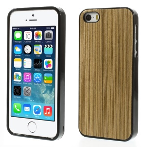Real Wood Skin TPU Shell Case for iPhone 5s 5 - Light Grey