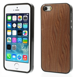 Real Wood Skin Gel TPU Back Cover for iPhone 5s 5 - Deep Brown