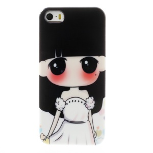 For iPhone 5 5s Lovely Girl in White Dress TPU Phone Cover