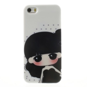 For iPhone 5 5s Pretty Girl in Black Dress TPU Gel Cover