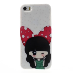 For iPhone 5 5s Girl Wearing Bowknot TPU Gel Case