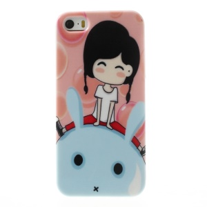 Smiling Girl & Rabbit for iPhone 5 5s TPU Gel Case